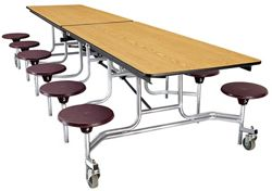 "10' Cafeteria Table with 12 Stools - 30""W x 121""D"