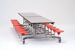 "12' Cafeteria Table with 16 Stools - 30""W x 145""D"