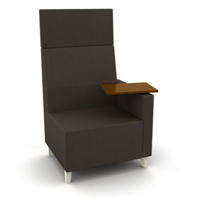 Modern High Back Fabric or Vinyl Chair with Tablet Arm