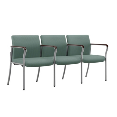 Easy-Clean Fabric Three Seat Guest Chair with Wall Saver Legs