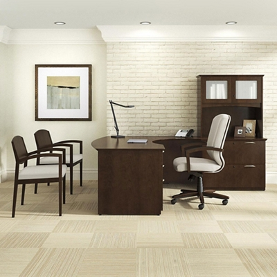"""Right Bow Front L-Desk with Hutch - 71.75""""W x 95.5""""D"""
