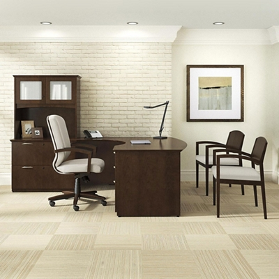 "Left Bow Front L-Desk with Hutch - 71.75""W x 95.5""D"