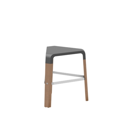 Standard-Height Wood Stool with Poly Seat