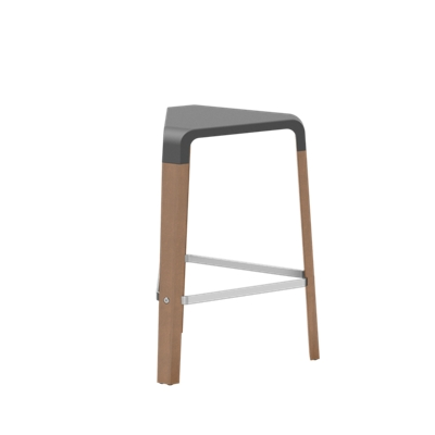 Counter-Height Wood Stool with Poly Seat