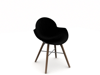 Polypropylene Shell Chair with Wood Legs