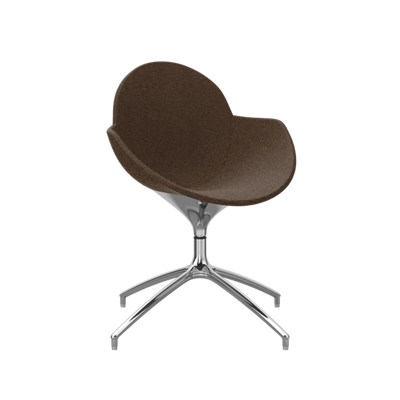Fabric Upholstered Swivel Chair with Metal Base
