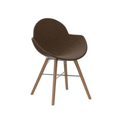 Fabric Upholstered Chair with Wood Legs