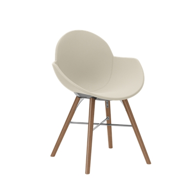 Vinyl Upholstered Chair with Wood Legs