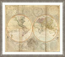 "Vintage World Framed Map Print - 48""W x 42""H"