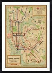 "New York Framed Map Print - 40""W x 56""H"