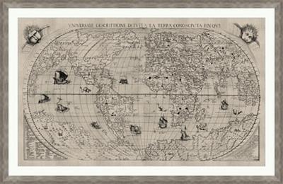 "World Map Framed Art Print - 60""W x 39""H"