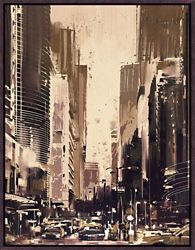 "City Street Framed Canvas Art Print - 28""W x 36""H"