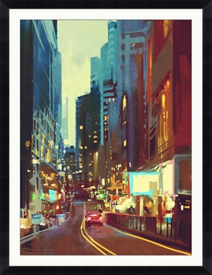 "Street in Modern City Framed Art Print - 40""W x 52""H"