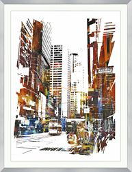 """Abstract Cityscape Framed Art Print - 40""""W x 52""""H"""