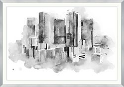 """Watercolor Drawing Cityscape Framed Art Print - 60""""W x 42""""H"""