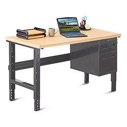 "Annex Industrial Adjustable Height Compact Desk with Pedestal - 60""W"