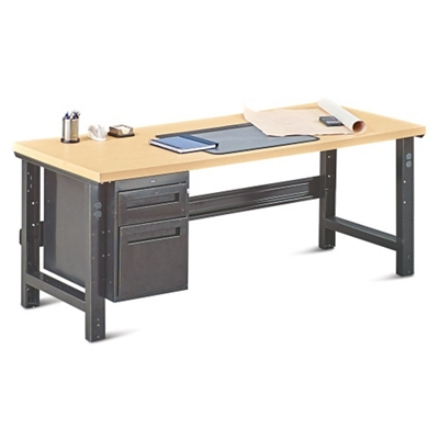 "Annex Industrial Adjustable Height Executive Desk with Pedestal - 72""W"