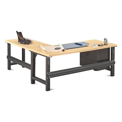 "Annex Industrial Adjustable Height L-Desk with Pedestal - 72""W"