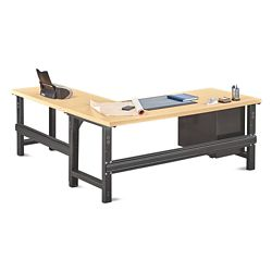 "Annex Industrial Adjustable Height L-Desk with Pedestal - 72""W"