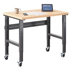 "Annex Industrial Mobile Adjustable Standing Height Compact Desk - 48""W"