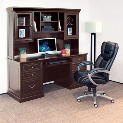 Credenza with Hutch and Office Chair