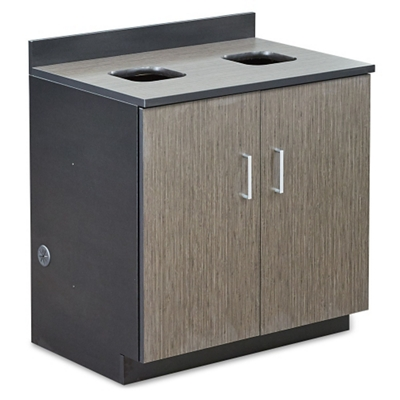 Waste Management Cabinet with Two 36 Gallon Bin Liners