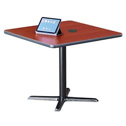 "Frappe Standard Height Square Table with Power - 36""W"