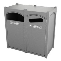 Double Sideload Arch Waste Bin with 45 Gallon Capacity