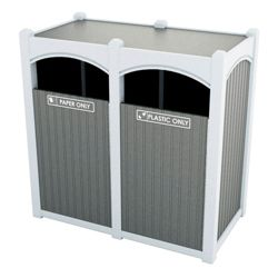 Double Sideload Bead Board Arch Waste Bin 45 Gallon Capacity