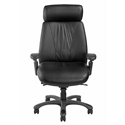 Leather Ergonomic High-Back Chair with Graphite Frame