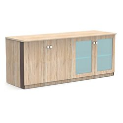 """Allure 72""""W x 29.5""""H Low Wall Cabinet with Glass and Wood Doors"""