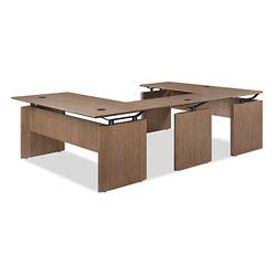 """Diamond Wood Veneer Reversible U-Desk 72""""W x 102""""D"""