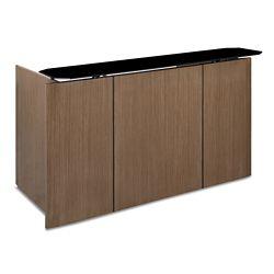 "Diamond Glass Top Reception Desk - 80""W x 38""D"
