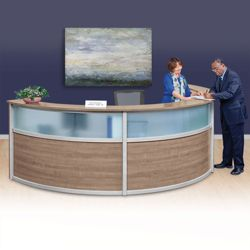 "Compass Laminate and Glass Triple Reception Desk - 142""W x 72""D"
