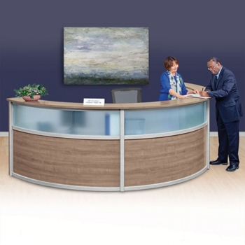 Compass Laminate and Glass Triple Reception Desk - 142