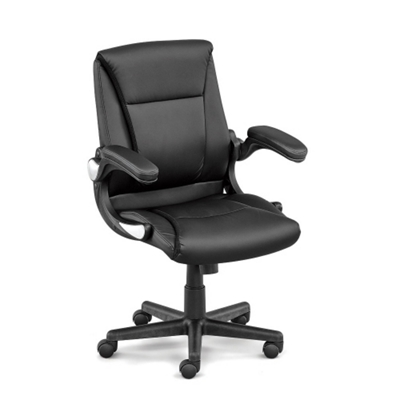 Faux Leather Petite Executive Chair With Flip Arms