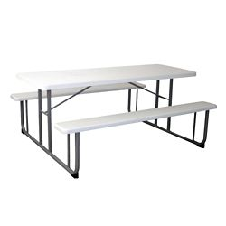 """Rectangular Plastic Picnic Table with Benches - 72""""W"""