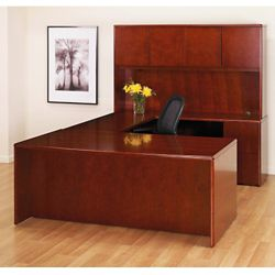U-Desk with Bow Top and Hutch