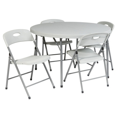 "Lightweight Round Folding Table and Chairs Set - 38"" Diameter"