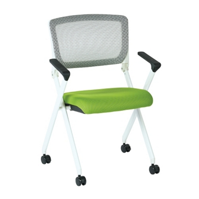 White Frame Mesh or Fabric Nesting Chair