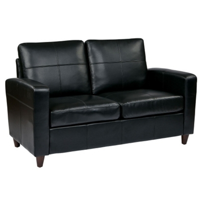 Eco Leather Contemporary Loveseat