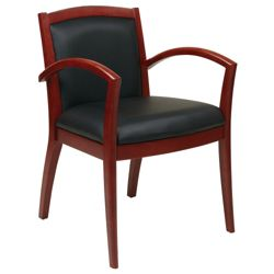 Wood Frame Eco Leather Guest Chair