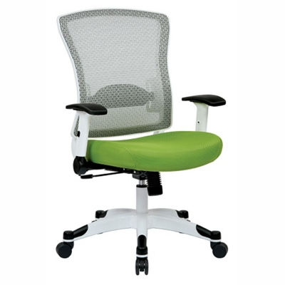 White Frame Mesh and Fabric Ergonomic Computer Chair