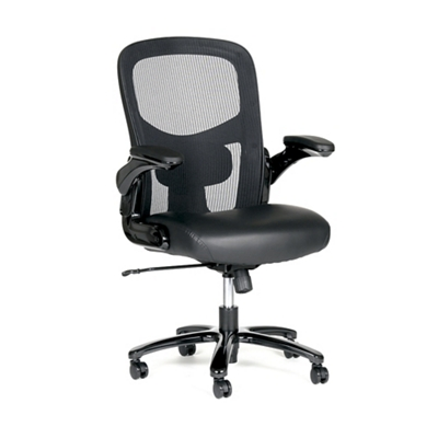 Linear Big and Tall Bonded Leather Seat/Mesh Back Chair With Flip Arms