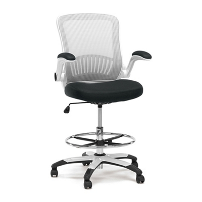 Linear Vertical Mesh Drafting Stool With Flip Arms