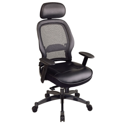 Office Chair with Leather Seat and Headrest