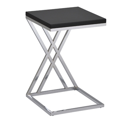 "Contemporary Chrome Frame Accent Table - 16""W"