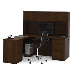 Reversible L-Shaped Desk with Hutch