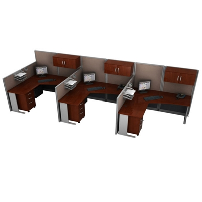 Three-Person L-Desk Workstation Set