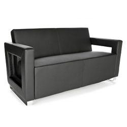 "Faux Leather Square Arm Reception Sofa - 59""W"
